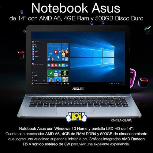 notebook asus nueva 14' amd a6 500gb 4gb radeon r5 win10 loi