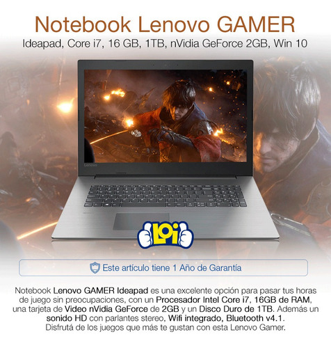 notebook gamer lenovo 17.3' core i7 1tb 16gb ram mx150 loi