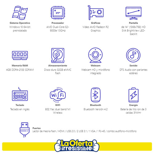 notebook hp 14' intel 32gb 4gb ram bt win10 rf en loi