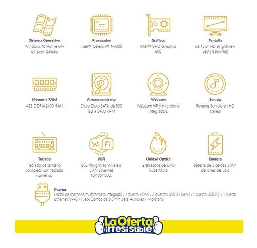 notebook hp 15,6' intel dual core 500gb 4gb dvd win10 loi