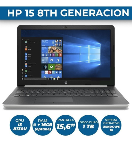 notebook hp i3 8va gen disco 1tb 20gb ram (4gb+16gb optane)