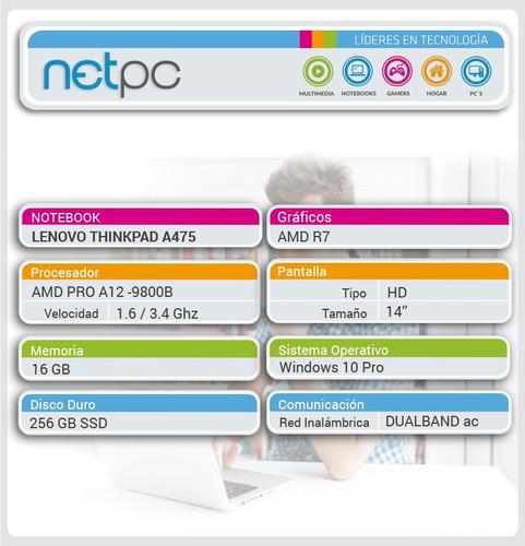 notebook lenovo nuevo a12 16gb 256gb ssd 14 amd r7  - netpc