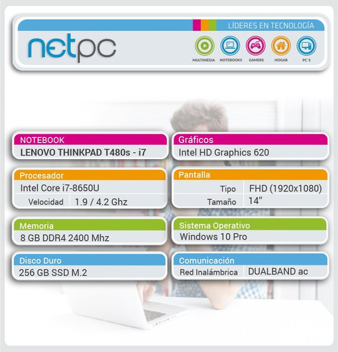 notebook lenovo nuevo - i7 8gb 256gb sdd 14 - netpc