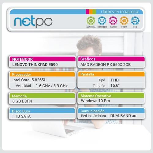 notebook lenovo thinkpad e590 15.6/i5/rx550x/1tb/8gb - netpc