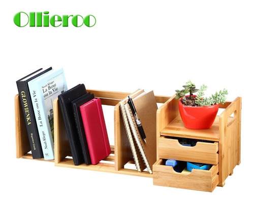 ollieroo bamboo desk organizer drawers estantería ajustable