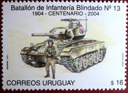 osl sello 2193 uruguay tanque infanteria uniforme