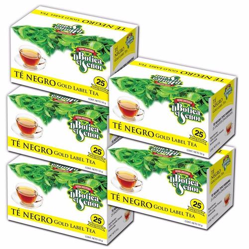 pack 5 cajas de té negro de 25 saquitos c/u