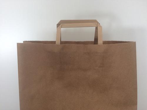 pack 50 bolsa papel lisa color marrón grande 34x17x48 cm