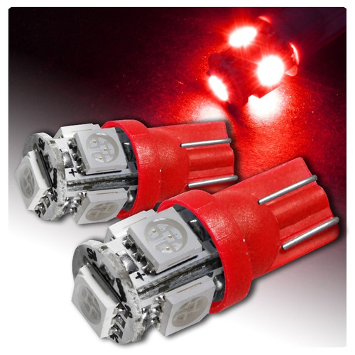 pack de 2 lámparas t10 con 5 led smd 5050 rojas