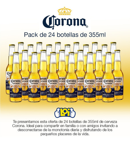 pack de 24 cervezas corona botella de 355ml oferta loi