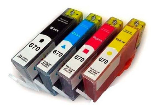 pack de 4 cartuchos 670xl desk-jet 3525 4615 compatibles