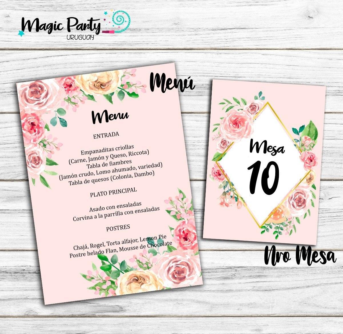 Pack Digital Boda Invitacion Tarjeta Souvenir Nro Mesa Menu