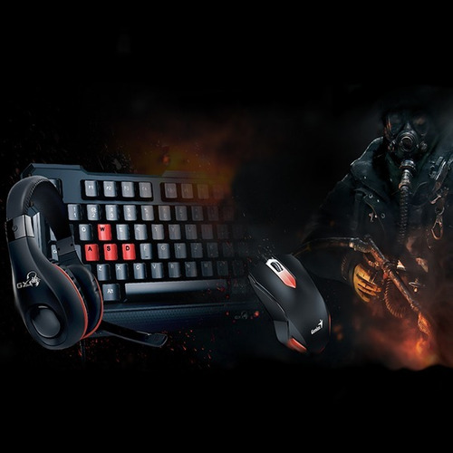 pack gamer genius teclado + mouse + auriculares serie gaming