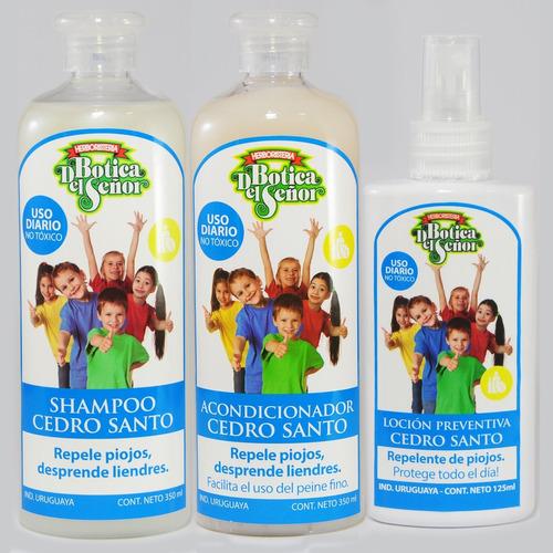 pack shampoo, acondicionador y loción preventiva cedro santo