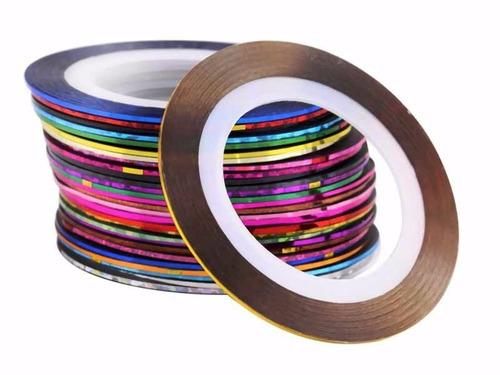 pack x6 cinta metalizada adhesivas para arte uñas