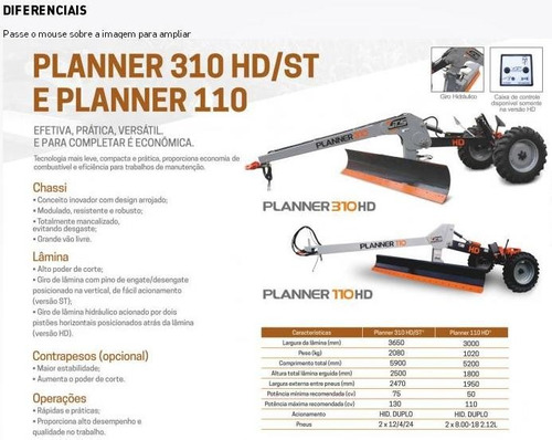 pala niveladora de tiro gts - planner 110 hd