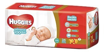 pañales huggies natural care rn (hasta 4 kg) x 34 unidades