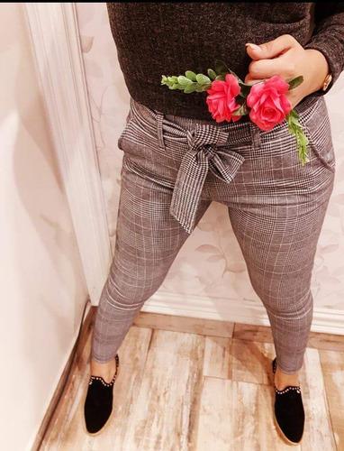 pantalón con lazo príncipe de gales dama milo moda femenina