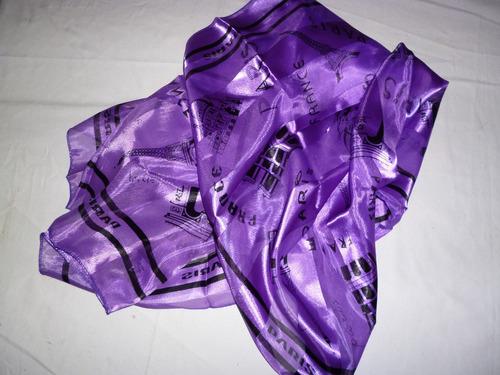 pañuelo de dama en seda color violeta y negro 97 x 97 cm.