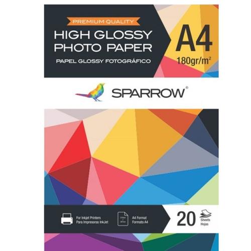 papel fotografico 180g/m2 pack 20 hojas a4 glossy - insumax