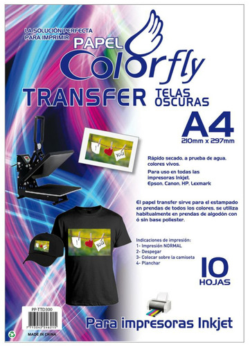 papel transfer a4 telas oscuras colorfly