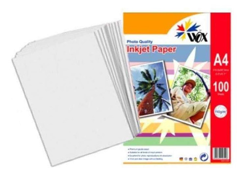 papel wox inkjet foto alta resoluciã³n a4 110 grs 100uds nne