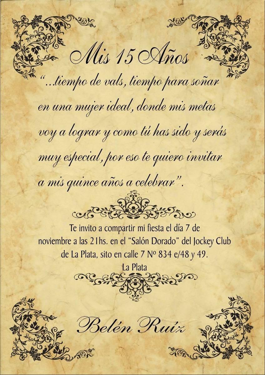 Papiro Pergamino Invitación 15 Y Boda Vintage Y Clásicos