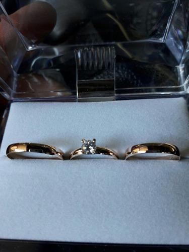 par alianzas 3mm con cintillo todo oro macizo.