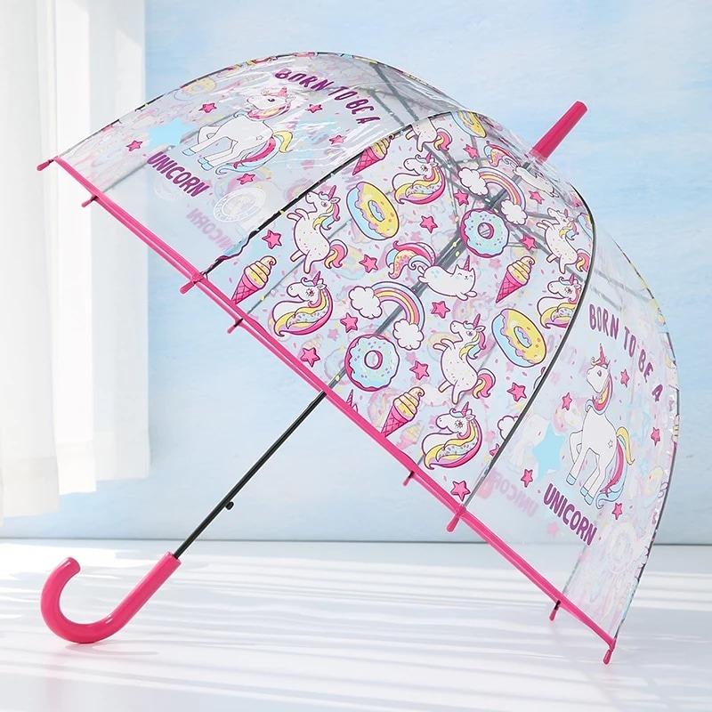 venta al por mayor encontrar mano de obra liquidación de venta caliente Paraguas Unicornio Transparente Para Nena