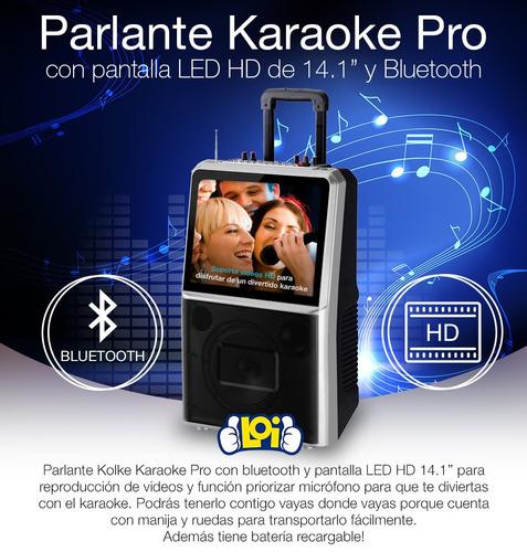 parlante a batería kolke karaoke pro pantalla 14' bt mic loi