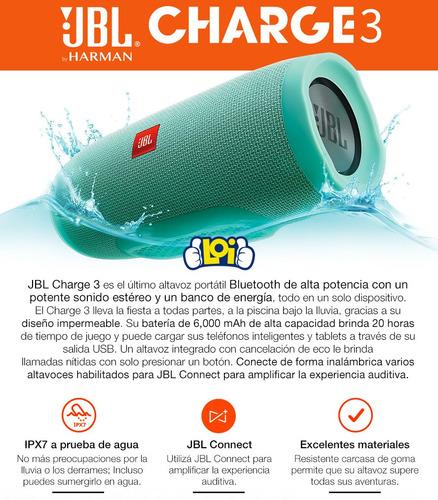 parlante jbl charge 3 bluetooth potencia y calidad loi