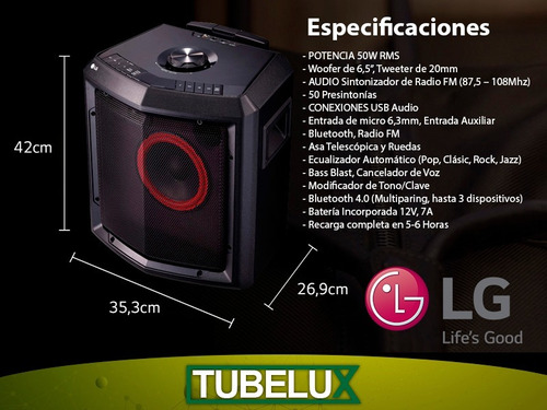 parlante portátil batería inalambrico lg fh2 radio fm bt usb