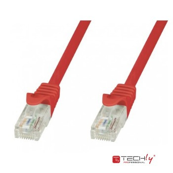 patch cat5e  4,2 m / 14 feet rojo cca banado en cobre techly