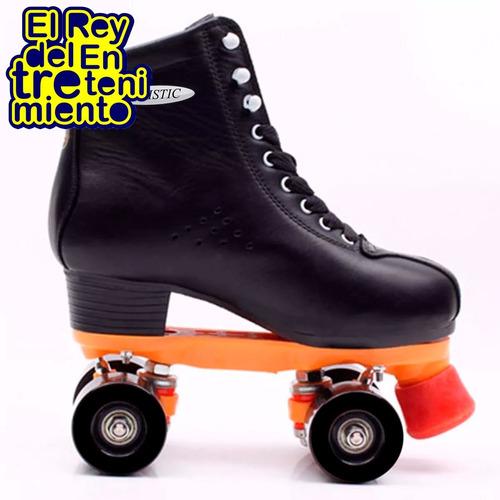 patín artístico bota negra ruedas silicona freno goma el rey