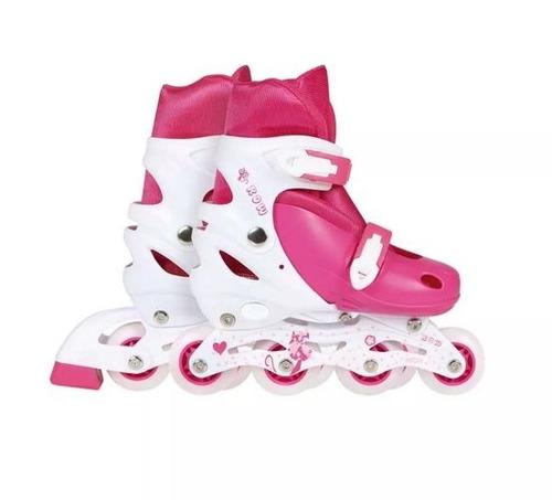 patin roller infantil mor extensible rosado talle p 31 a 34