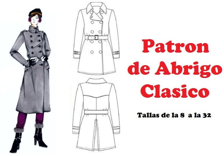 06f01badc0343 Patron Abrigo Clasico Mujer Tallas De La 8 A La 32 Full 2x1 -   100 ...