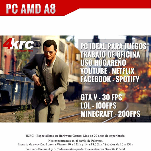 pc armada gamer amd a8 7670k 10 nucleos 1tb video r7 hdmi