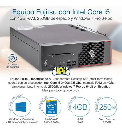 pc fujitsu intel core i5 250gb 4gb de ram windows 7 pro loi