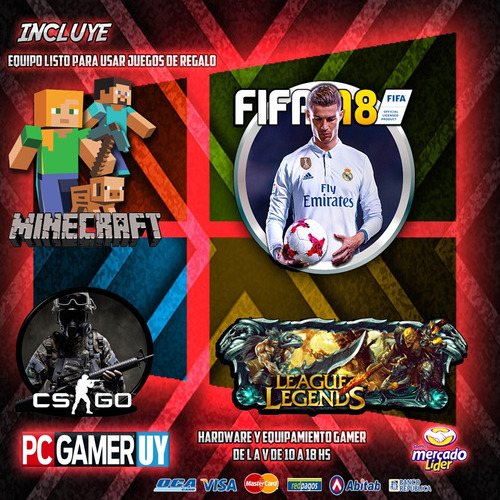 pc gamer amd a10 8gb ddr4 2gb video 1tb pcgamer-uy
