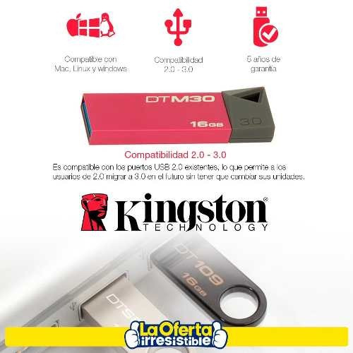 pendrive 16gb kingston dt50 3.0 pc notebook audio video loi