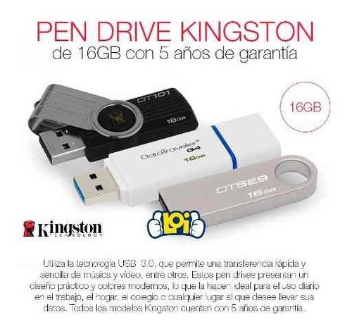 pendrive 16gb kingston dt50 3.0 pc notebook audio video loi