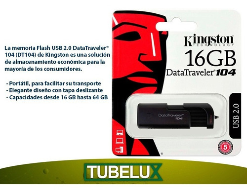 pendrive kingston 16gb dt104 pc notebook audio musica y mas