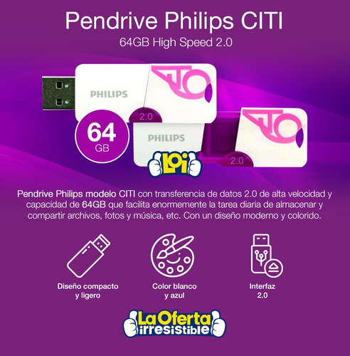 pendrive philips citi 64gb usb oferta loi
