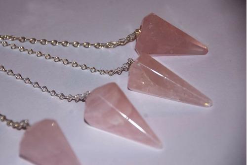 péndulos de cuarzo rosa natural