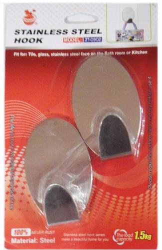 percha acero x 2 unidades con adhesivo