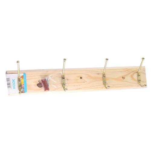 perchero de madera para pared con 4 ganchos 40cm