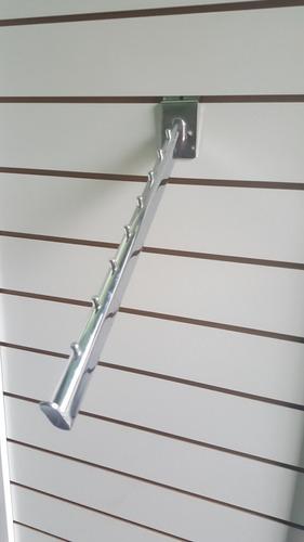 perchero panel ranurado cromados ideal tienda 40 cm