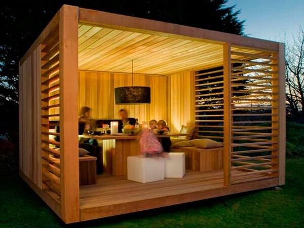 pergola tipo refugio de madera para jardin en madera