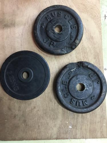 pesas 3 discos de 2,5 kg. c/u
