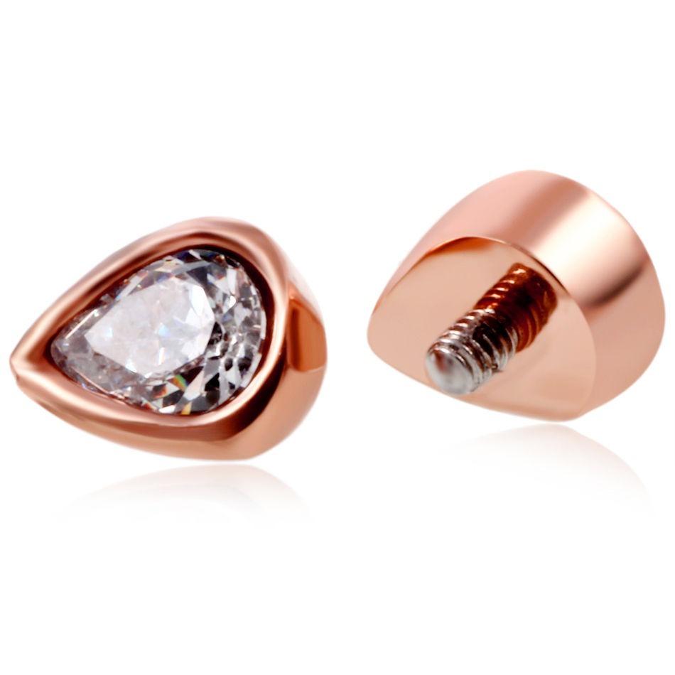 5c5cf440b593 piercing top con forma de lagrima color oro rosa. Cargando zoom.